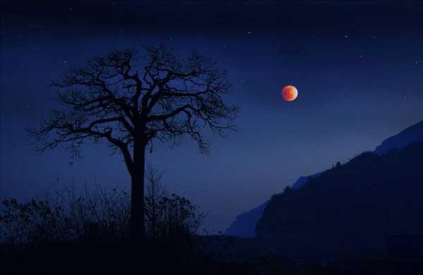农村的红月亮