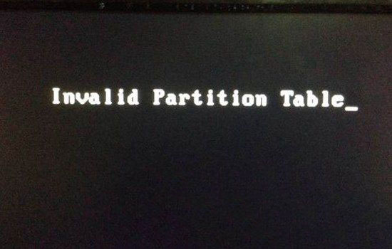 Invalid Partition Table