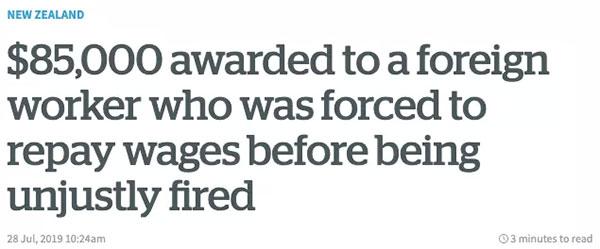 2019年7月,一位新西兰的老板因为无理地解雇了一位华人员工,结果赔偿8.5万纽币