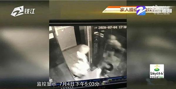 53岁的来女士,7月4日(周六)17:03分回家时,在电梯监控里留下了生前最后的影像