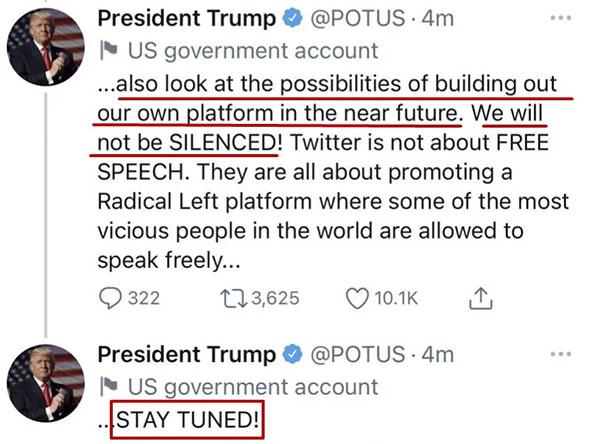 特朗普一觉醒来后,看到自己号没了,马上用美国总统的专用推特号(@POTUS)又连发了几条信息