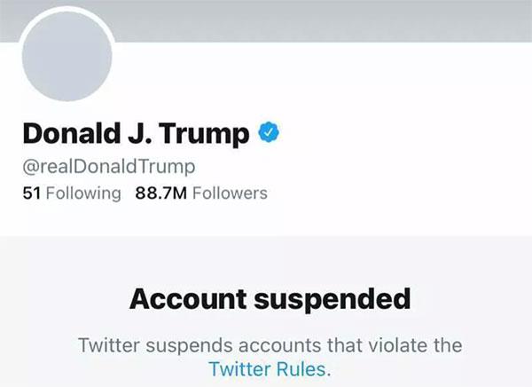 推特公司也马上开出对特朗普账号的禁令