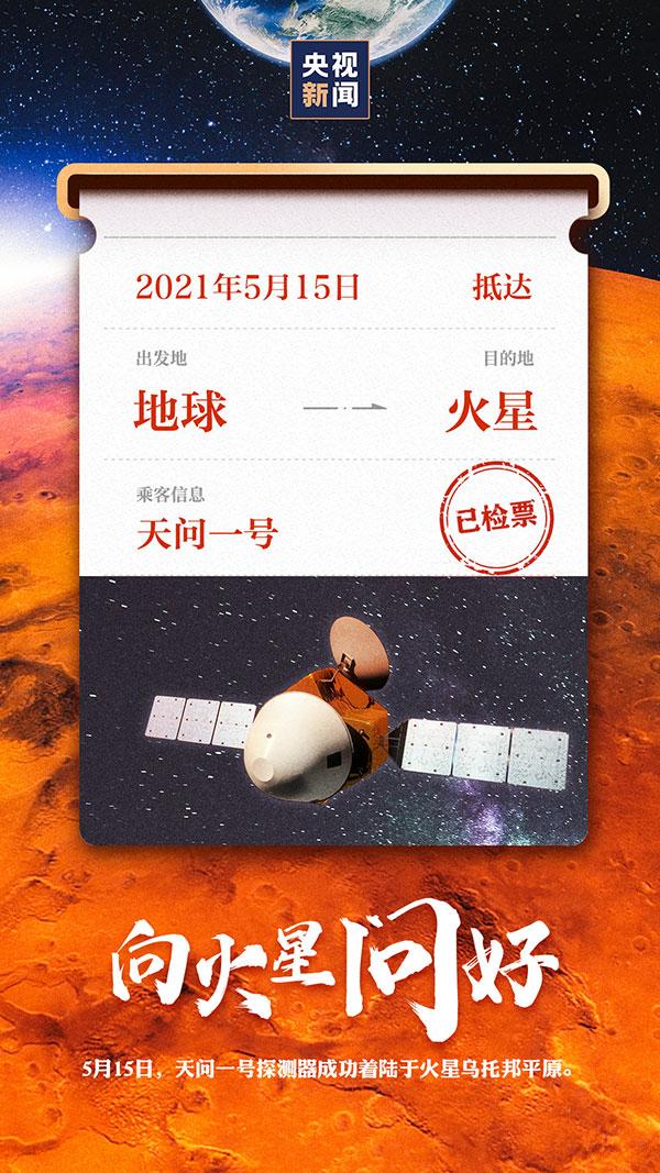 天问一号探测器成功着陆于火星
