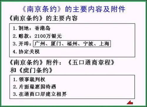 《南京条约》的主要内容