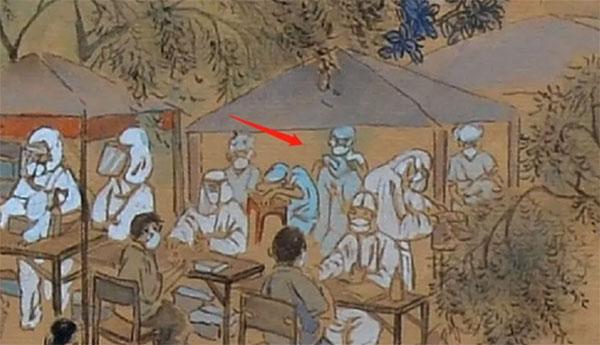 陈志杰还将许多现实中的动人场景融入其中:医务人员因太疲惫或趴在椅子上休息