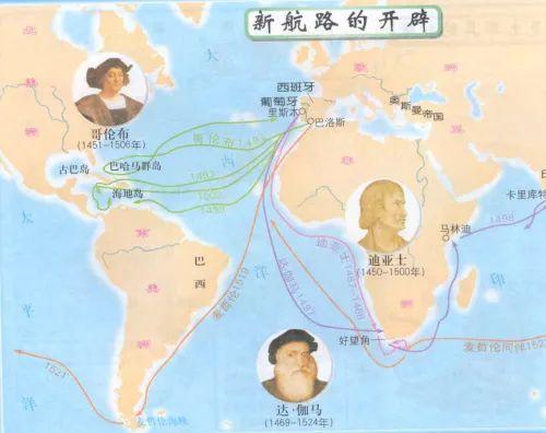 在西班牙王室的资助下,达伽玛、麦哲伦和哥伦布等航海家开启了欧洲的大航海时代。