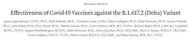 完全接种两剂mRNA新冠疫苗,对Delta变种导致的症状性COVID-19的防护效力为88%